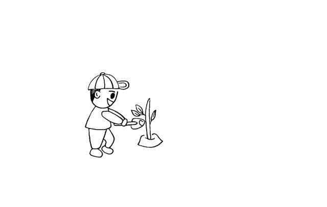 6.在铁锹的边上画出一颗小树。