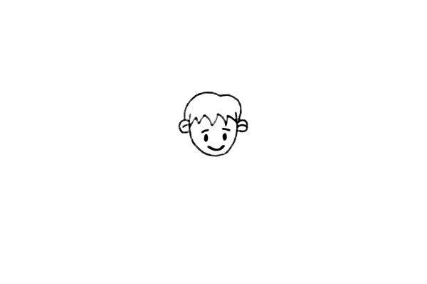 第二步:接着画上小男孩的发型和他帅气的五官。