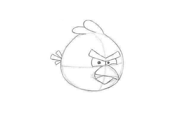11.这样《愤怒的红鸟》的素描稿件就完成了。