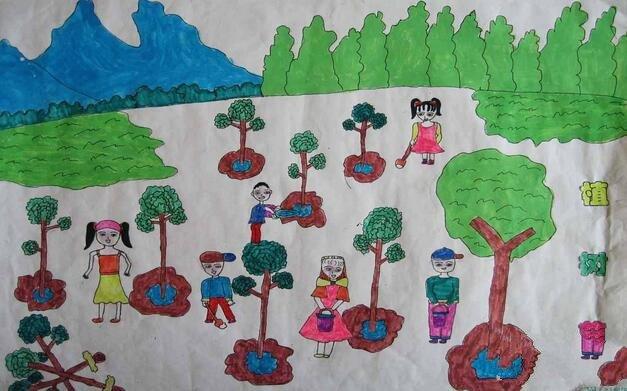小树苗快快长大简单的植树节画作品分享