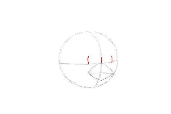 4.在水平线的顶部画三条小曲线。用来确定红色愤怒的鸟的眼睛位置。
