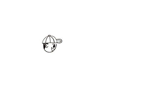 1.首先画出小男孩的头部是侧在一边的。