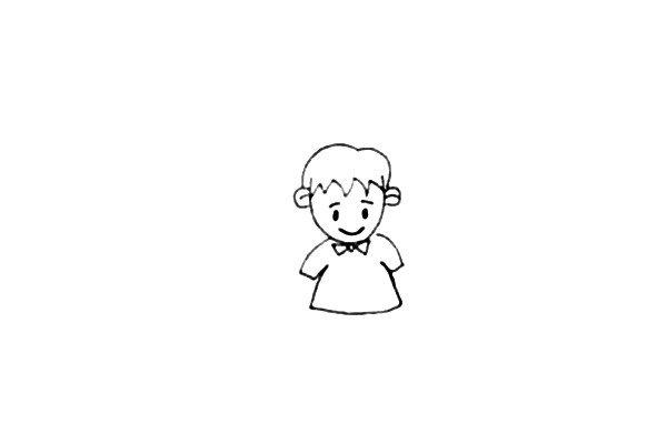 第三步:画上小男孩的领结,再画上他穿的宽松的上衣。