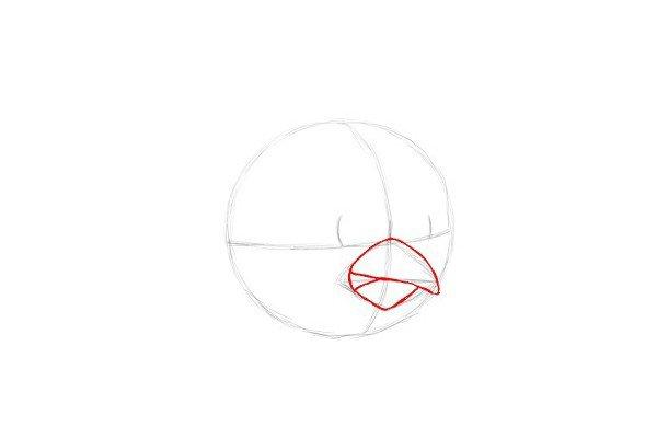 """6.接下来画红色小鸟的嘴。将上半部曲线与下半部分重叠。给""""红色愤怒的小鸟""""一个左边的小开口,让小鸟露出牙齿。"""