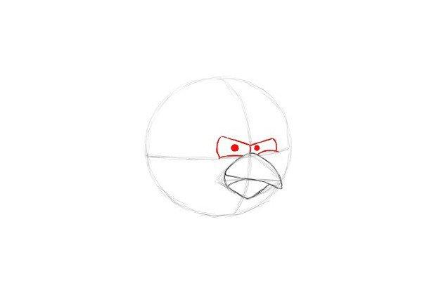 7.在交叉线上方画出红色小鸟凶猛的眼睛。