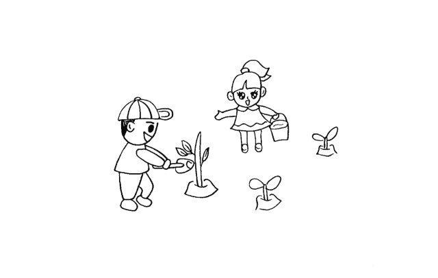11.在周围画一些小树苗装饰一下。