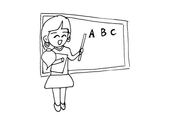 11.在老师的身后画一面大大的黑板.她正在上着英语课。