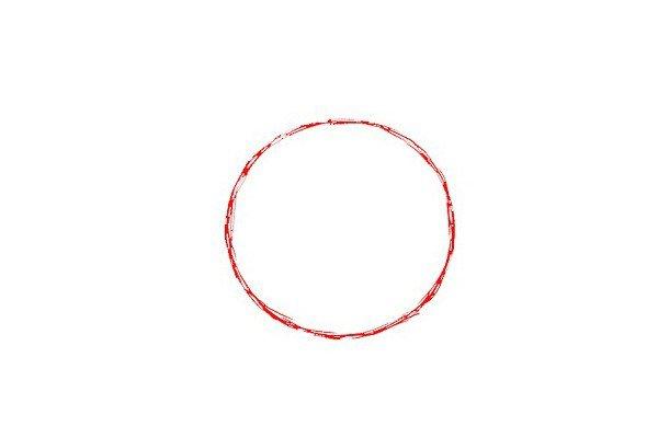 1.线用铅笔画一个圆形。