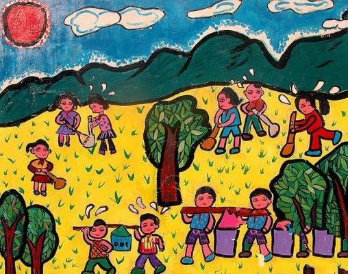 儿童绘画作品--小朋友植树