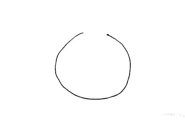 第一步:先画一个圆形,上面留出一点缺口。
