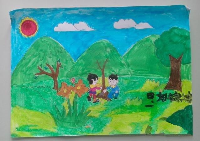 植树之趣四年级植树节水粉画作品赏析
