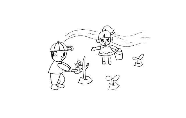 12.在小姑娘的身后画一条小溪。