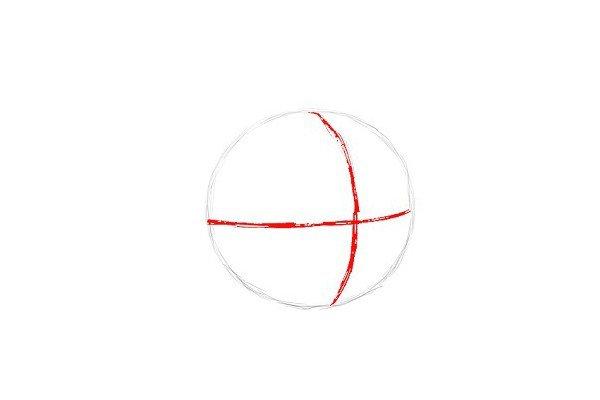 2.在圆里面画两条相交的弧线。