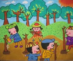 植树节精选儿童画-大家一起来植树