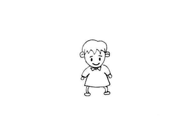 第四步:画上小圆表示小男孩的手,再画上他的腿和脚。
