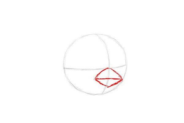 3.3.在线条相交点的地方正下方,画一个菱形和一条横穿它的水平线。这是《红色愤怒的小鸟的嘴》的嘴巴形状。