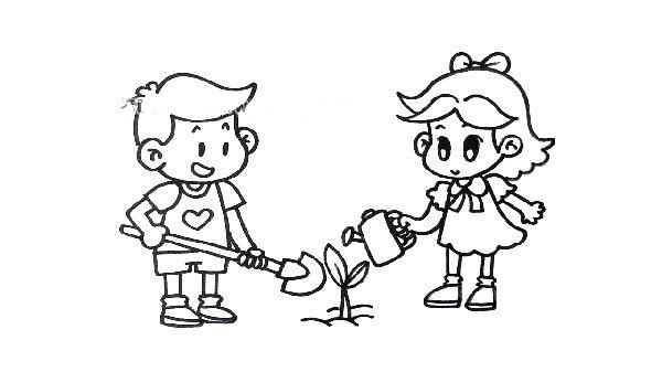 画儿童劳动的场景简笔画
