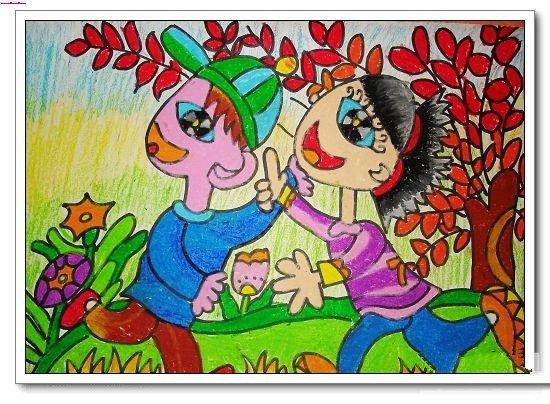 关于植树节的儿童画-植树节去游玩
