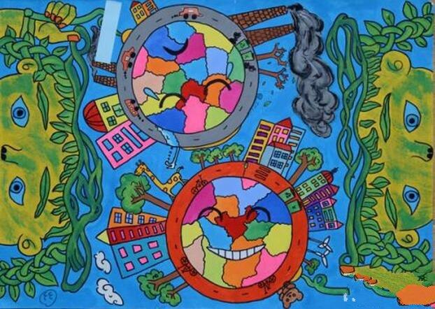三年级植树节画画作品之世界大不同