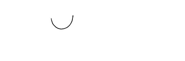 1.首先画出老师的脸颊.画一个弧形。