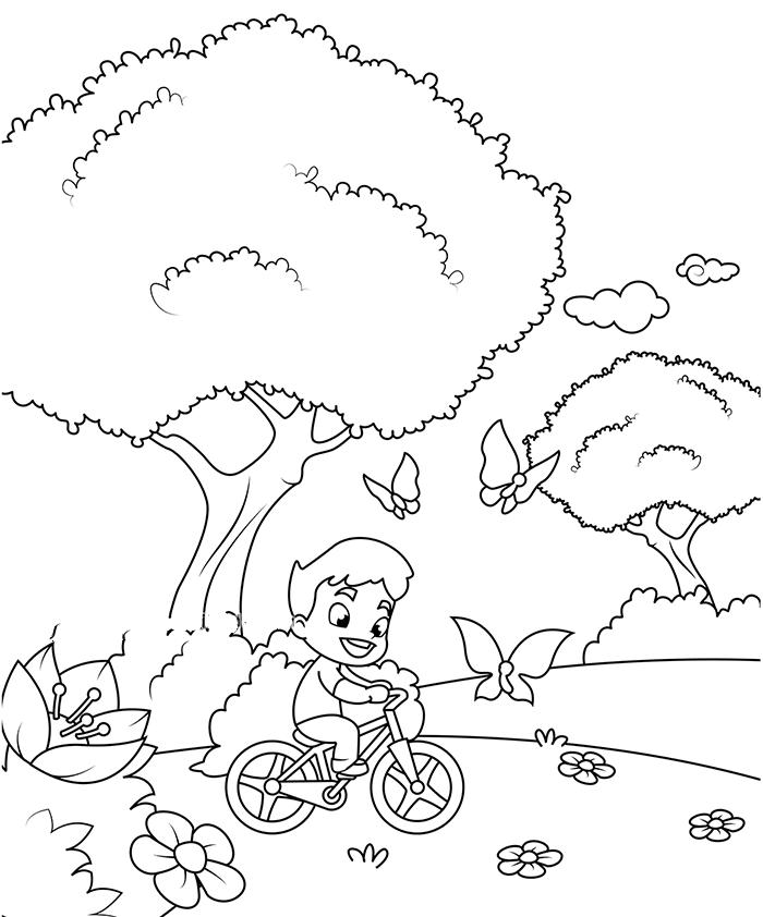 小男孩骑着自行车追蝴蝶