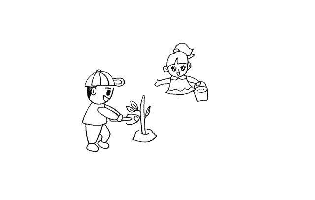 9.张开的手臂.手里提着一个水桶。