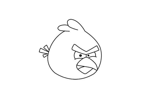 12.接下来我们用马克笔在画好的草图上勾画出愤怒小鸟的整体轮廓,等墨水干后用橡皮擦擦掉铅笔的素描线条。