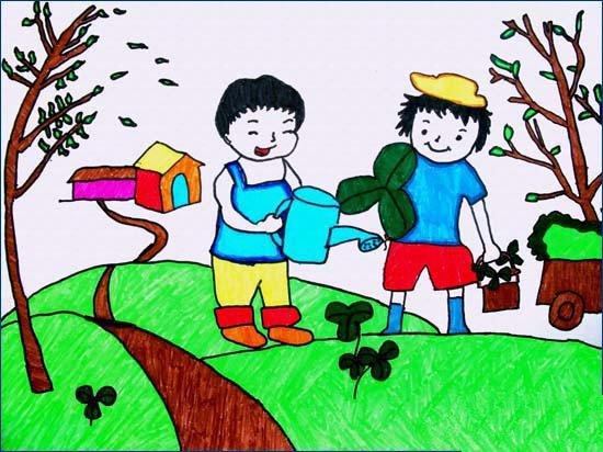 植树节的儿童画-我来浇花