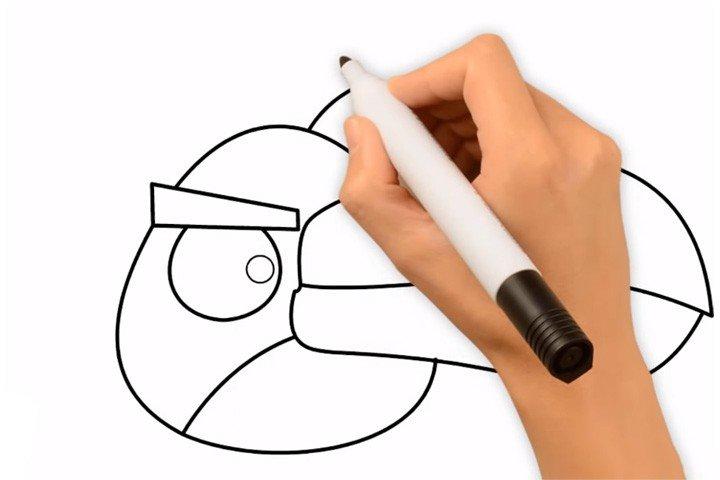 3.画长嘴绿的眼睛。