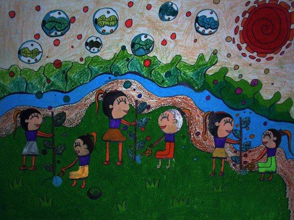 植树节蜡笔画:植树造氧