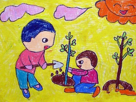 儿童画春天植树节-保护环境从我做起