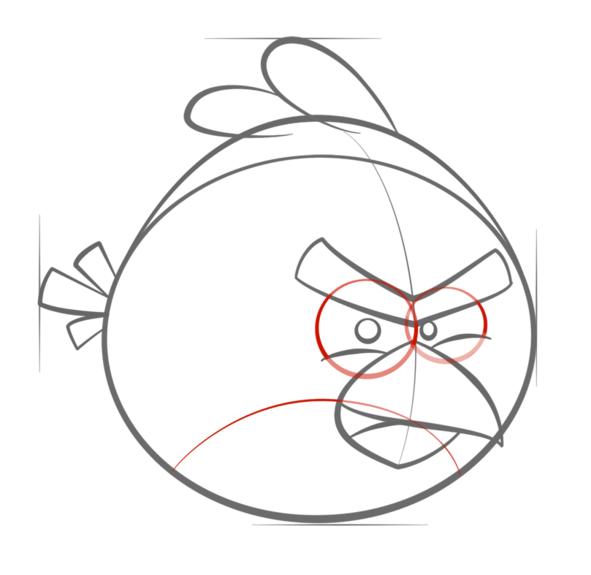 如何画红色愤怒的小鸟