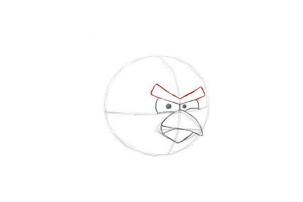 8.在眼睛上方,画一个类似字母V的形状。作为红色愤怒的鸟凶猛的眉毛。