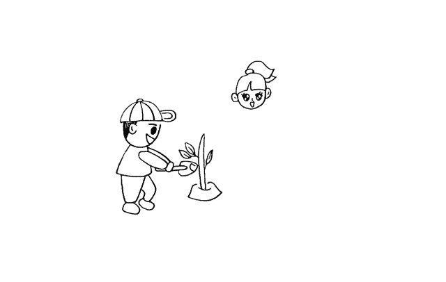 7.右侧画出一个小女孩.先画出头部。