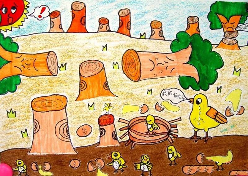 关于植树节的儿童画-保护我们的家园