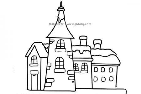一组漂亮的建筑简笔画图片