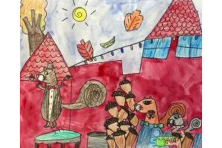 忙碌的松鼠一家人画秋天图画分享