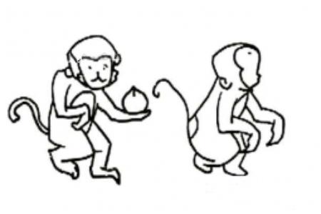 爱吃桃的猴子简笔画图片