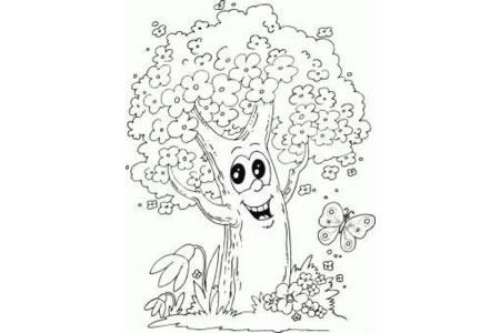 可爱的卡通大树