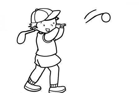 小男孩打高尔夫