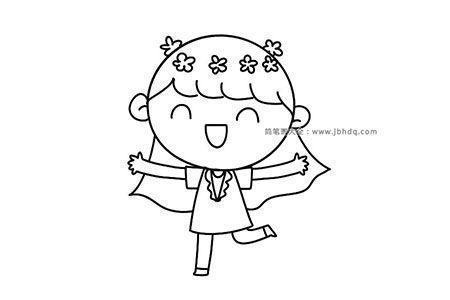 头戴花环开心的女孩