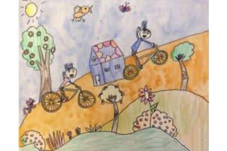 夏日骑行记暑假生活画图片欣赏