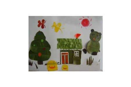 树叶贴画作品:温暖的家