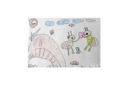 勤劳的蚂蚁儿童画画作品
