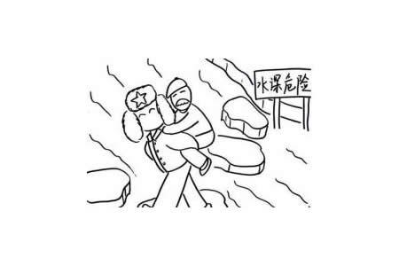 雷锋背老爷爷过河简笔画