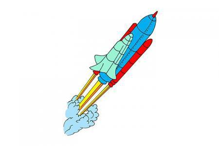 5张火箭简笔画图片「带颜色」