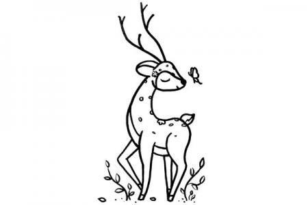一起学画梅花鹿