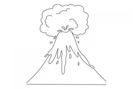 火山喷发简笔画图片