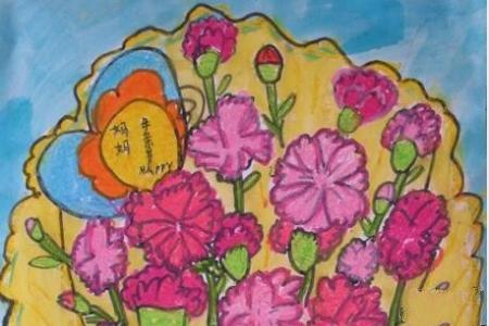 送给妈妈的康乃馨妇女节主题画作品欣赏