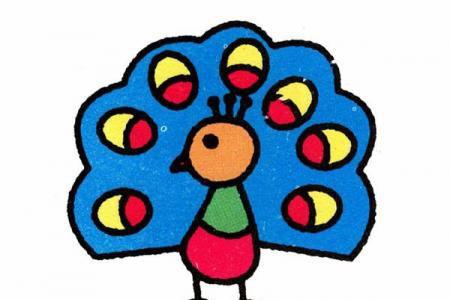 儿童画美丽的孔雀简笔画步骤彩图素描